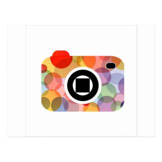 Digital camera with colorful circles postcard