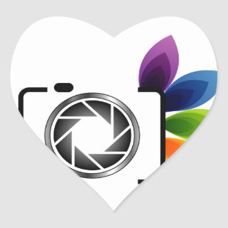 Digital camera with colorful leaves heart sticker