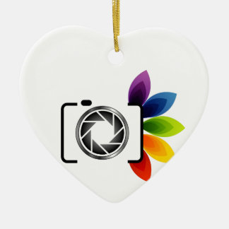Digital camera with colorful leaves Double-Sided heart ceramic christmas ornament