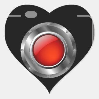 Digital camera with red aperture heart sticker