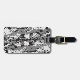 Digital camo Black white and grey Bag Tag