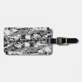 Digital camo Black white and grey Tag For Bags
