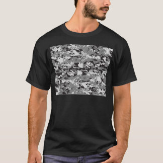Digital camo Black white and grey T-Shirt