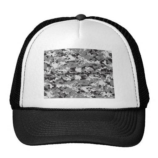 Digital camo Black white and grey Trucker Hat