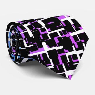 Digital Camo Black White Blue Purple Pattern Tie