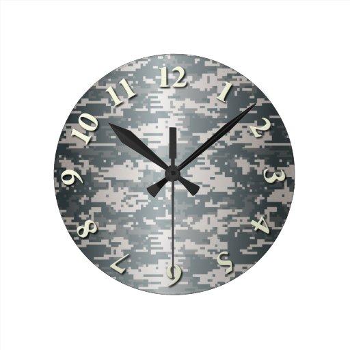 Digital Camo Round Wall Clocks Zazzle