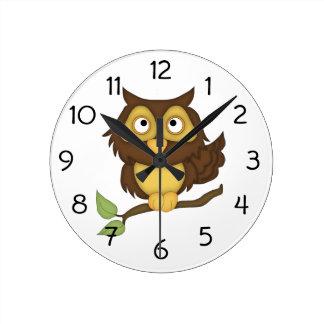 Digital Cartoon Owl on Branch Round Clock