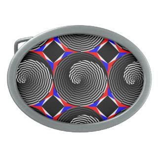 Digital Checker Yin Yang by Kenneth Yoncich Oval Belt Buckle
