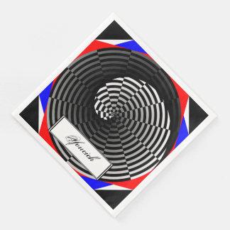 Digital Checker Yin Yang by Kenneth Yoncich Paper Dinner Napkin