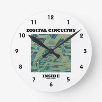 Digital Circuitry Inside (Circuit Board) Round Clocks