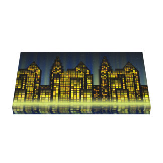 Digital City Abstract Art Texture Gallery Wrapped Canvas
