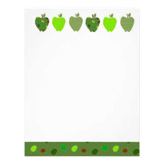 Digital Collage Green Pretty Cute  Apples Letterhead