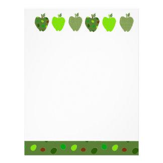 Digital Collage Green Pretty Cute  Apples Letterhead