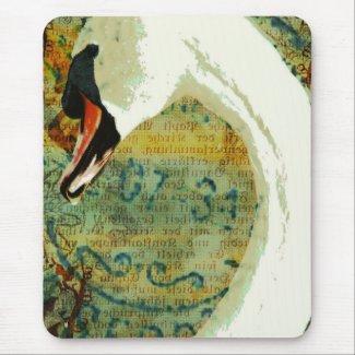 Digital Collage Swan mousepad