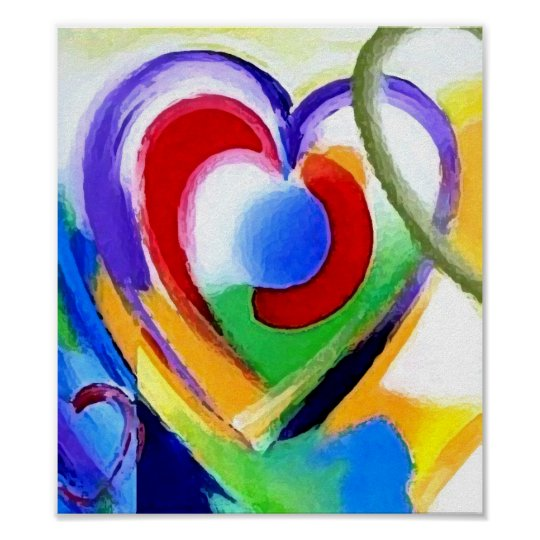 Digital color Hearts Poster