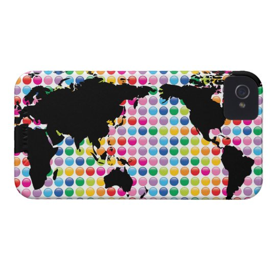 Digital Colorful Dots World Map iPhone 4 CaseMate iPhone 4 Cover