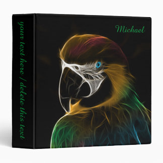 Digital colorful parrot fractal 3 ring binder