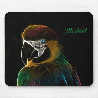 Digital colorful parrot fractal mouse pad