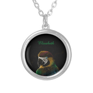 Digital colorful parrot fractal name silver plated necklace