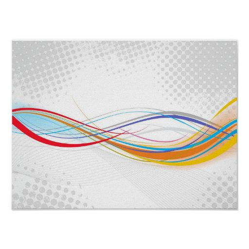 Digital Colourful Swirls grey polkadots circles Poster