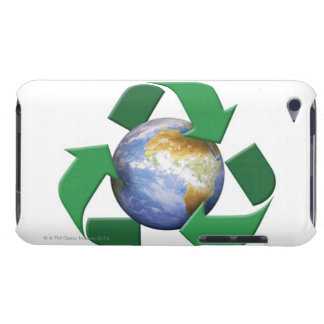 Digital composite image of a recycling symbol barely there iPod case