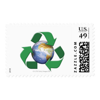 Digital composite image of a recycling symbol postage