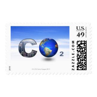 Digital composite image of symbol of carbon stamps