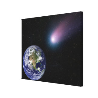 Digital composite of a comet heading towards Ea Canvas Print