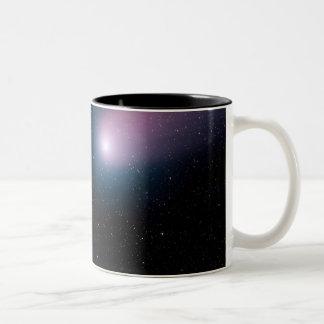 Digital composite of a comet heading towards Ea Two-Tone Coffee Mug