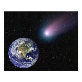 Digital composite of a comet heading towards Ea Photo Print