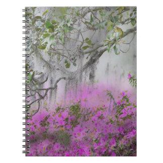 Digital Composite of Azaleas and magnolia tree Notebook