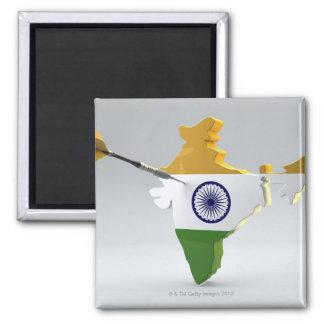 Digital Composite of India 2 Inch Square Magnet