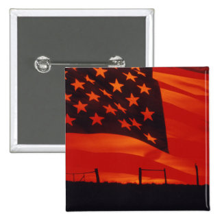 Digital composite of the American Flag 2 Inch Square Button