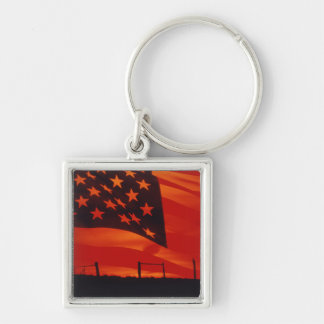 Digital composite of the American Flag Silver-Colored Square Keychain