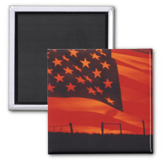 Digital composite of the American Flag 2 Inch Square Magnet
