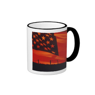 Digital composite of the American Flag Ringer Coffee Mug