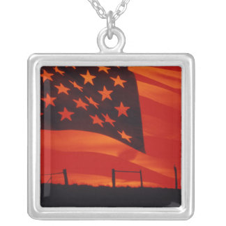 Digital composite of the American Flag Square Pendant Necklace