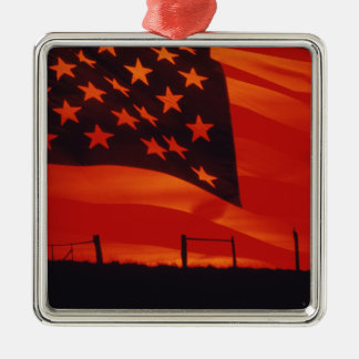 Digital composite of the American Flag Square Metal Christmas Ornament