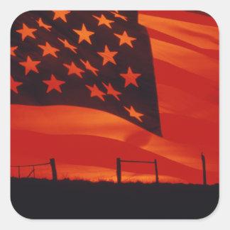 Digital composite of the American Flag Square Sticker