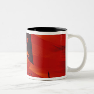Digital composite of the American Flag Two-Tone Coffee Mug