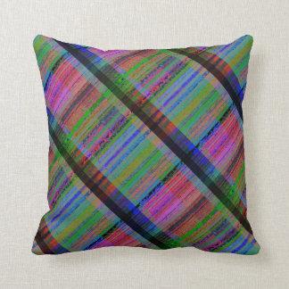 Digital Compression Artifacts Plaid Throw Pillow