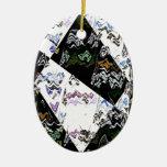 Digital Crazy Quilt Christmas Tree Ornaments