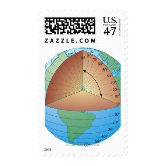 Digital cross section illustration of showing postage stamp
