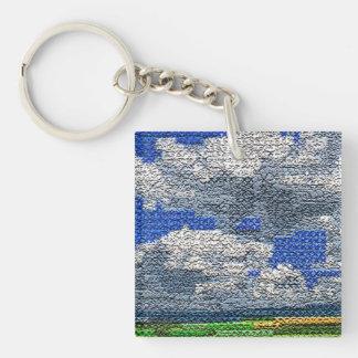 Digital Cross Stitch - Clouds and Field Keychain