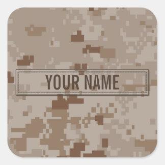 Digital Desert Camouflage Customizable Square Sticker