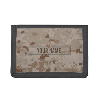 Digital Desert Camouflage Customizable Tri-fold Wallets