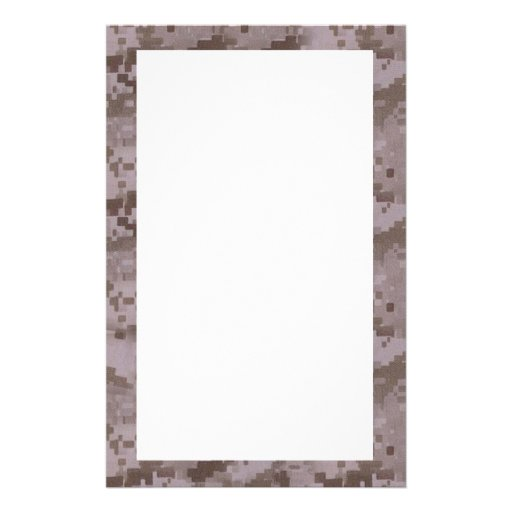 Digital Desert Camouflage with White Personalized Stationery