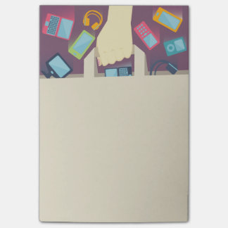 Digital devices falling into a paper shopping bag post-it® notes