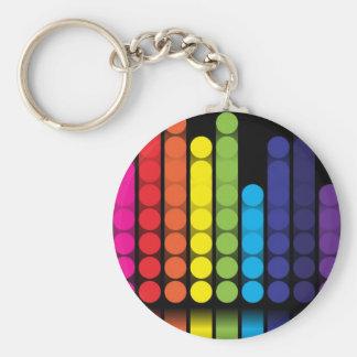 Digital Dots Basic Round Button Keychain