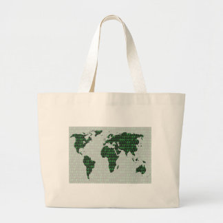Digital earth - binary filled earth map large tote bag